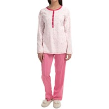 Calida Pink Carnation Pajamas - Long Sleeve (For Women) in Star White - Closeouts