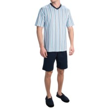 Calida Pitch Pine Cotton Pajamas - V-Neck, Short Sleeve (For Men) in Brilliant Blue - Closeouts