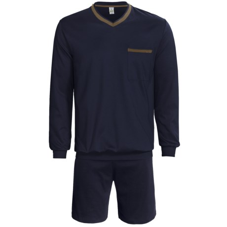 Calida Pure Cotton Interlock Shorts Pajamas - Long Sleeve (For Men) in Marine