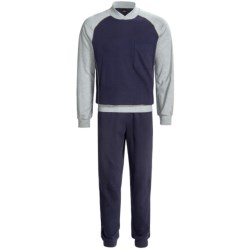 Calida Pure Cotton Mats Cuffed Pajamas - Long Sleeve (For Men) in Grey Heather