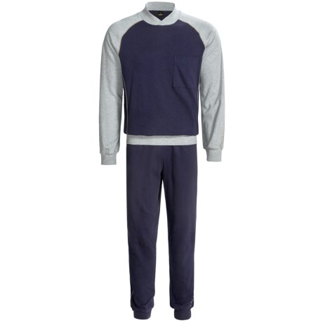 Calida Pure Cotton Mats Cuffed Pajamas - Long Sleeve (For Men) in Dark Blue
