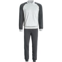 Calida Pure Cotton Mats Cuffed Pajamas - Long Sleeve (For Men) in Grey Heather - Closeouts