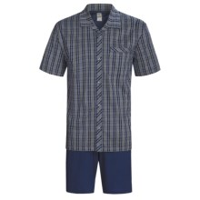 Calida Regatta Pajamas - Button-Up, Short Sleeve (For Men) in Navy - Closeouts