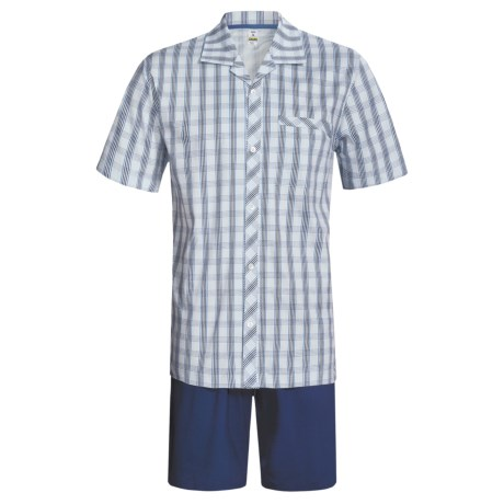 Calida Regatta Pajamas - Button-Up, Short Sleeve (For Men) in Navy