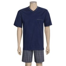 Calida Regatta Pajamas - V-Neck, Short Sleeve (For Men) in Navy - Closeouts