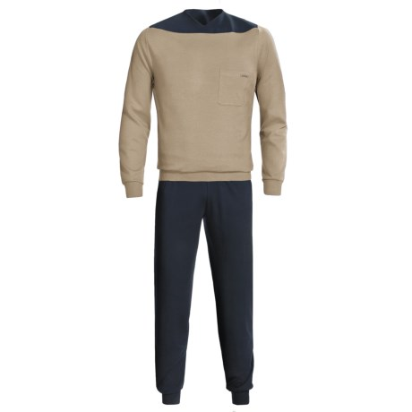 Calida Relax Cuffed Pajamas - Heavy Interlock Cotton, Long Sleeve (For Men) in Drab