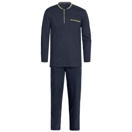 Calida Relax Pajamas - Heavy Interlock Cotton, Long Sleeve (For Men) in Marine