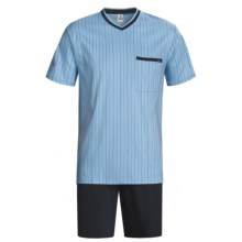 Calida Relax Seasonal Cotton Pajamas - V-Neck, Short Sleeve (For Men) in Sky Blue - Closeouts