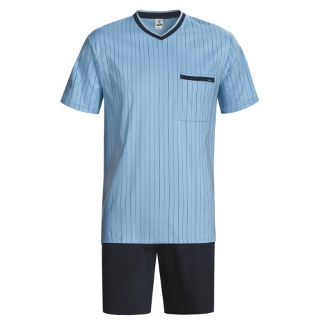 Calida Relax Seasonal Cotton Pajamas - V-Neck, Short Sleeve (For Men) in Sky Blue