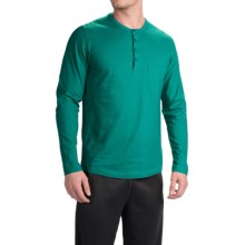 Calida Remix Basic Cotton Henley Shirt - Long Sleeve (For Men) in Bayou Green - Closeouts