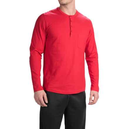 Calida Remix Basic Cotton Henley Shirt - Long Sleeve (For Men) in Red - Closeouts