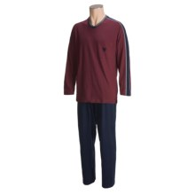 Calida Reset Cotton Knit Pajamas - V-Neck, Long Sleeve (For Men) in Zinfandel - Closeouts