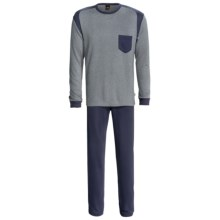 Calida Sascha Pajamas - Stretch Micromodal®, Long Sleeve (For Men) in Dark Moon Mele - Closeouts