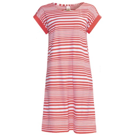 Calida Sea Coast Nightshirt - Cotton Jersey, Short Sleeve (For Women) in Raspberry