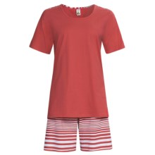 Calida Sea Coast Short Pajamas - Cotton Jersey, Short Sleeve (For Women) in Raspberry - Closeouts
