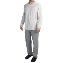 Calida Skyline Cotton Pajamas - Long Sleeve (For Men) in Sleet - Closeouts