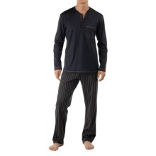 Calida Sleep Well Pajamas - Cotton, Long Sleeve (For Men) in Dark Anthracite - Closeouts