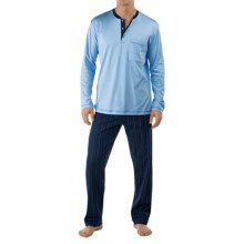 Calida Sleep Well Pajamas - Cotton, Long Sleeve (For Men) in Dark Blue - Closeouts