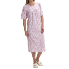 Calida Soft Cotton Nightgown - Interlock Cotton, Satin Trim, Short Sleeve (For Women) in Bloom Rose-Pink - Closeouts