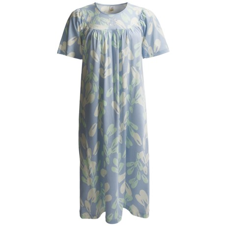 Calida Soft Cotton Nightgown - Interlock Cotton, Satin Trim, Short Sleeve (For Women) in Cloud
