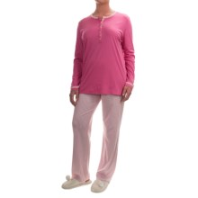 Calida Soft Ice Supima® Cotton Pajamas - Long Sleeve (For Women) in Ibis Rose - Closeouts