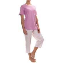 Calida Spring Special Pajamas - Cotton Jersey, Short Sleeve (For Women) in New Violet Purple - Closeouts