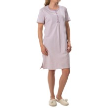 Calida Spring Time Nightshirt - Cotton Jersey, Short Sleeve (For Women) in Seafog Mele - Closeouts