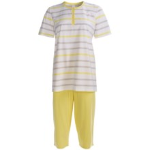 Calida Sweet Lime Capri Pajamas - Single Jersey Cotton, Short Sleeve (For Women) in Lemon - Closeouts