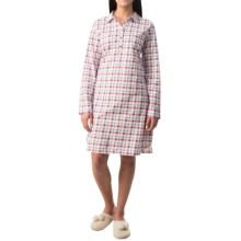 Calida Sweet Picnic Damen Collared Nightshirt - Long Sleeve (For Women) in Camillia Rose - Closeouts