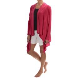 Calida Swetlana Open-Front Lounge Top - Stretch Modal-Wool, Long Sleeve (For Women) in Tan