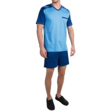 Calida Swiss Dreams Cotton Pajamas - Short Sleeve (For Men) in Bonnie Blue - Closeouts