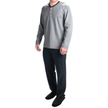 Calida Teak Cotton Henley Pajamas - Long Sleeve (For Men) in Stone Melange - Closeouts