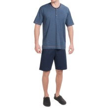 Calida Teak Cotton Pajamas - Short Sleeve (For Men) in Blue - Closeouts