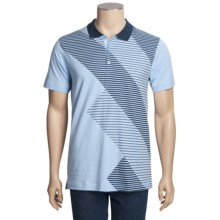 Calida Therma Liberty Polo Shirt - Cotton, Short Sleeve (For Men) in Sky Blue/Navy - Closeouts
