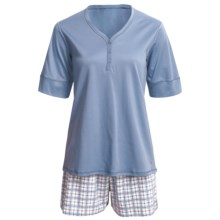 Calida Turtle Bay Short Cotton Pajamas - Elbow Sleeve (For Women) in Scandinavian - Closeouts