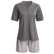 Calida Turtle Bay Short Pajamas - Cotton Jersey, Short Sleeve (For Women) in Brick - Closeouts