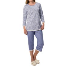 Calida Wonderland Pajamas - 3/4 Sleeve (For Women) in Blue Violet - Closeouts