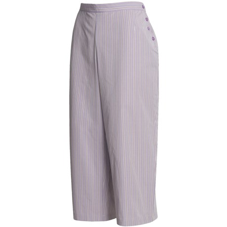 Calida Woven Cotton Capri Pajama - Mix and Match (For Women) in Wisteria