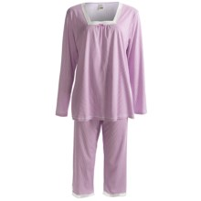 Calida Ylang Ylang Cotton Capri Pajamas - Lightweight, Long Sleeve (For Women) in Violet - Closeouts