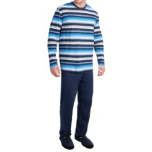 Calida Zebrano Cotton Crew Pajamas - Long Sleeve (For Men) in Brilliant Blue - Closeouts