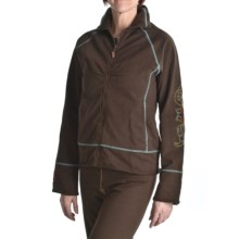 Calispia Artisan Embroidered Jacket - Stretch French Terry Cotton (For Women) in Brown W/Mineral Stitching - Closeouts