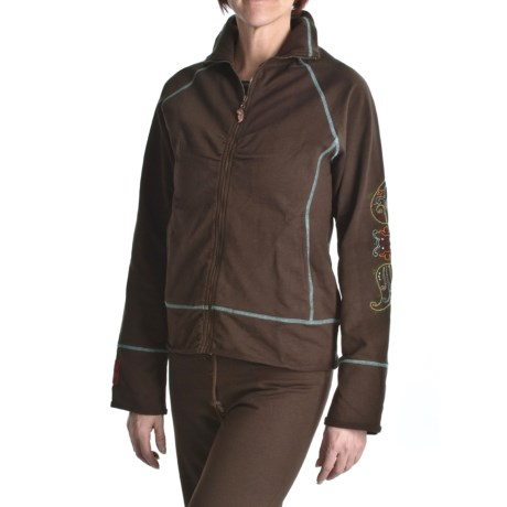 Calispia Artisan Embroidered Jacket - Stretch French Terry Cotton (For Women) in Brown W/Mineral Stitching