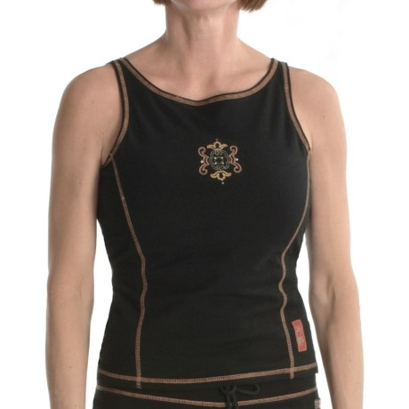 Calispia Artisan Tank Top - Stretch Cotton Jersey, Shelf Lining (For Women) in Black W/Shrimp Stitching