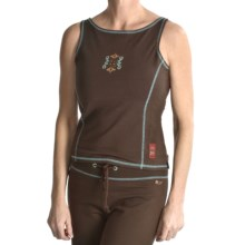 Calispia Artisan Tank Top - Stretch Cotton Jersey, Shelf Lining (For Women) in Brown W/Mineral Stitching - Closeouts