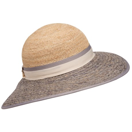Callanan Crocheted Facesaver Sun Hat UPF 50 Raffia Straw For Women