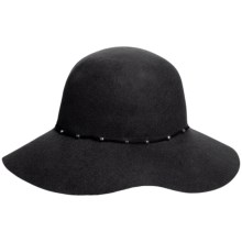 Callanan Round Crown Wool Felt Hat - Stud Trim, Raw Edge (For Women) in Black - Closeouts