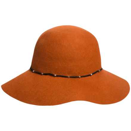 Callanan Round Crown Wool Felt Hat - Stud Trim, Raw Edge (For Women) in Rust - Closeouts