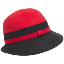 Callanan Two-Tone Cloche Hat - Wool Felt (For Women) in Red/Charcoal - Closeouts