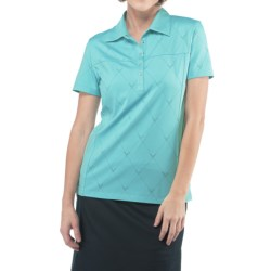Callaway Chev Jacquard Polo Shirt - Short Sleeve (For Women) in Blue Radiance