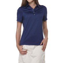 Callaway Chev Jacquard Polo Shirt - Short Sleeve (For Women) in Blueprint - Closeouts